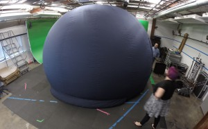 Drexel ACE-Lab's 16-foot diameter dome projection screen deployed in our main Urban 246 studio.