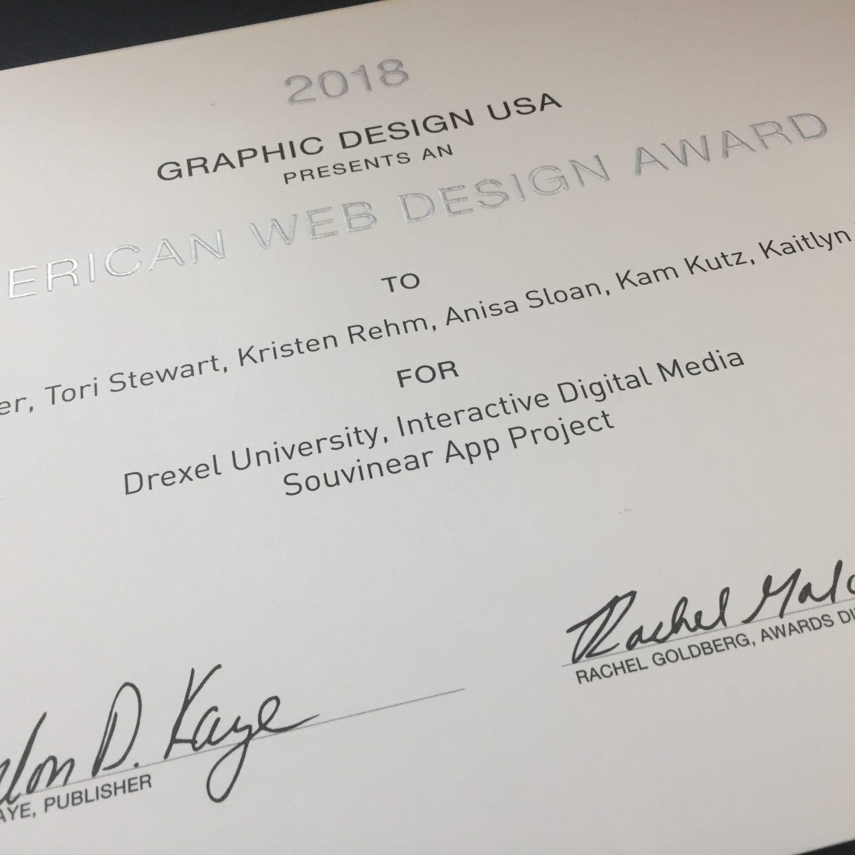 Souvinear Wins 2018 GDUSA American Web Design Award