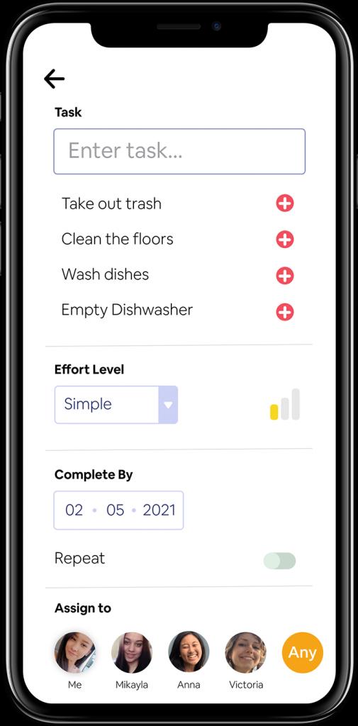 Add Tasks screen